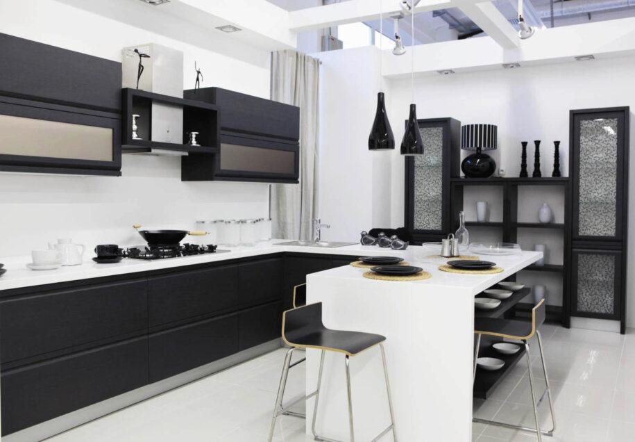 Черно-белая кухня: примеры удачного сочетания цвета в интерьере. ТОП-100 фото эксклюзивного дизайна кухни