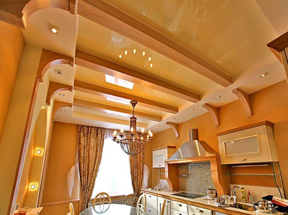 Дизайн потолка на кухне: виды материала, варианты отделки + 120 фото идей дизайна
