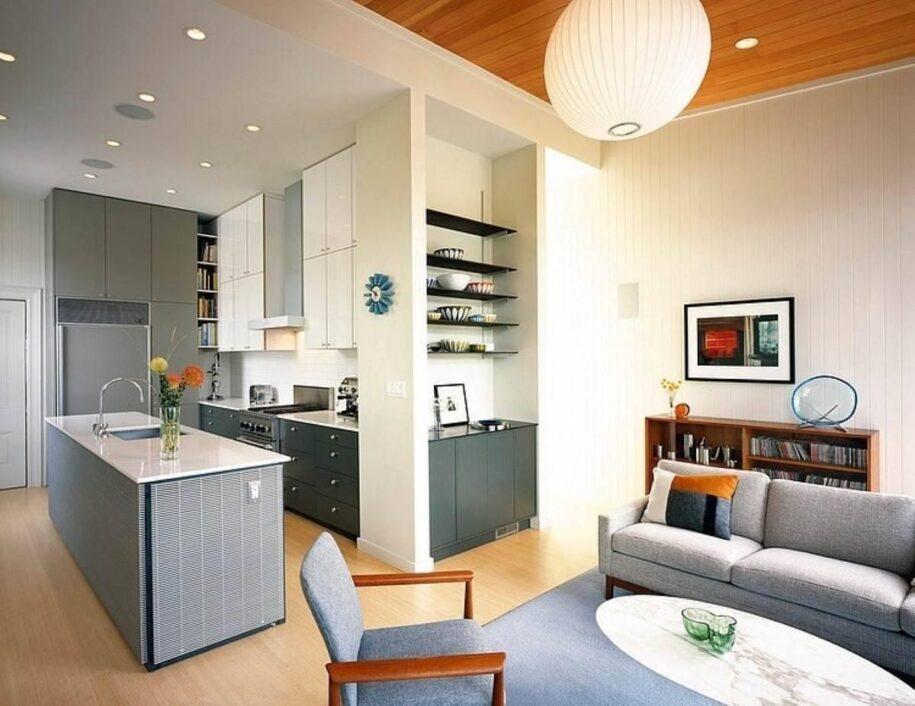 Кухня совмещенная с гостиной: примеры идеального зонирования и комфортной планировки (90 фото дизайна)