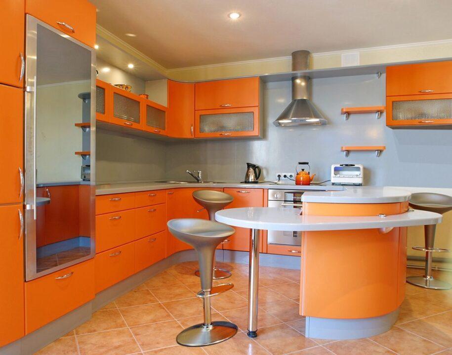 Оранжевая кухня: инструкция, как сочетать оттенки в интерьере кухни. 85 фото красивого дизайна в оранжевом цвете