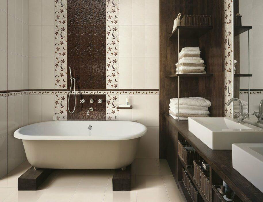 Отделка ванной плиткой — лучшие варианты дизайна, выбор раскладки + 120 фото примеров оформления